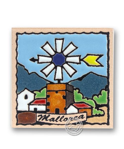 Reliefmagnetfliese mit Windmühlenmotiv, je Stück