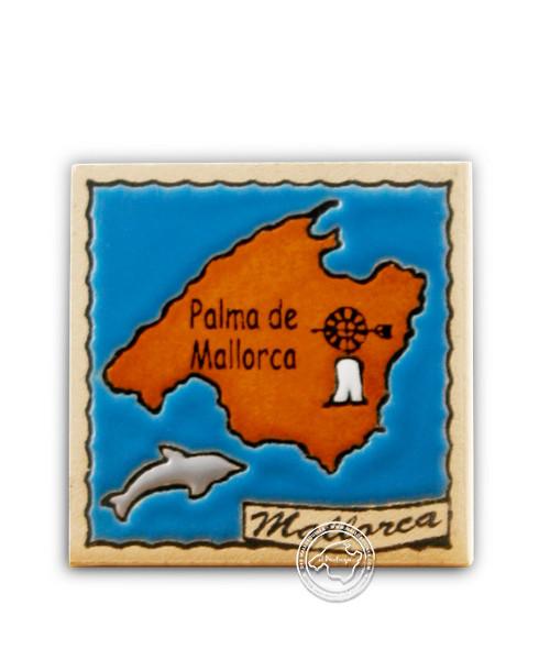 Fliesen aus Mallorca Reliefmagnetfliese mit Insel Mallorca 5,5 cm x 5,5 cm