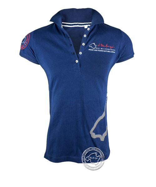 Der Mallorquiner Polo-Shirt blau Damen Logo gestickt