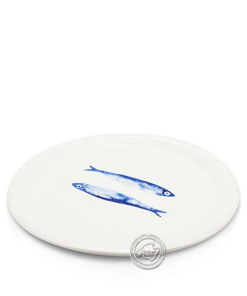 Plato, rund, weiß mit Fischen blau, volllasiert 32 cm, je Stück