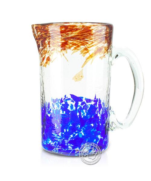 """Glashandwerk Lafiore """"Piche Liso maron-azul"""" - Glaskaraffe braun-blau gescheckt, je Stück"""