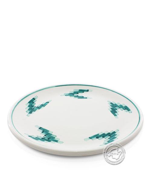 Teller, rund, Llenguesmuster grün, volllasiert 30 cm, je Stück