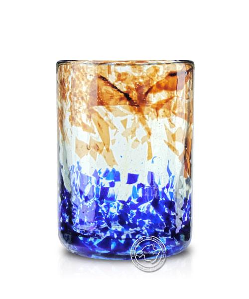 """Glashandwerk Lafiore """"Vaso Vino Liso"""" - Weinglas mit eingearbeitetem Sprenckelmuster blau/braun, je"""