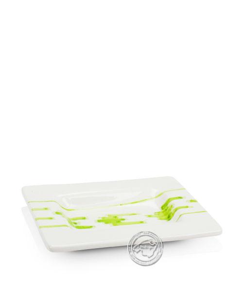 Plato Cuadrado Llegura Verde - Tonplatte eckig volllasiert mit grünen Lleguramuster auf beigem Grund