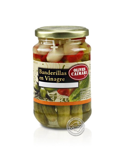 Banderillas en vinagre - Gemüsespießchen mit Oliven, 160-g-Glas
