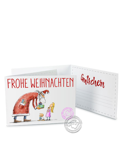 """Faltgutschein """"Frohe Weihnachten - Weihnachtsmann"""""""