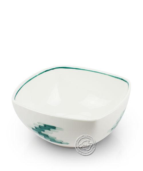 Schale weiß, Llenguesmuster grün, volllasiert 19 cm, je Stück