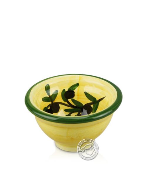 Schale voll lasiert gelb mit Olivenzweig-Dekor rund 7 cm