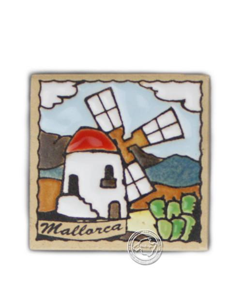 Fliesen aus Mallorca Reliefmagnetfliese mit Windmühlenmotiv 5,5 cm x 5,5 cm je Stück