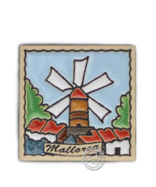 Fliesen aus Mallorca Reliefmagnetfliese mit Windmühlenmotiv 5,5 cm x 5,5 cm