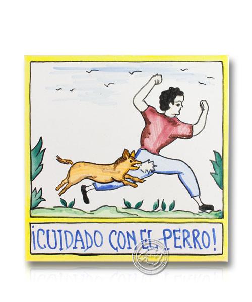 Fliesen aus Mallorca Alerta el ca Mossega - Vorsicht bissiger Hund mit Mann 15 cm x 15 cm