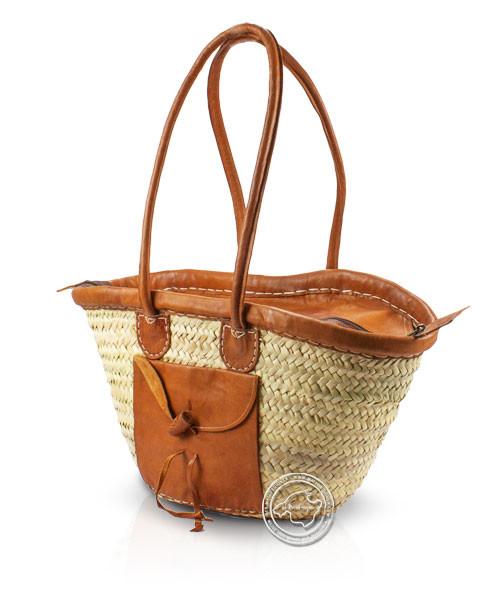 Korbtragetasche Palma-Serie mit Ledergurt, Oberrand, Tasche und Reisverschluß, 44 x 26 cm, je Korb