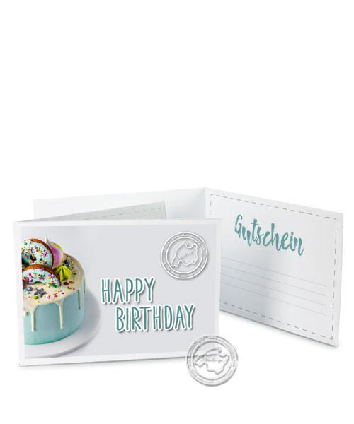 """Faltgutschein """"Happy Birthday - Kuchen"""""""
