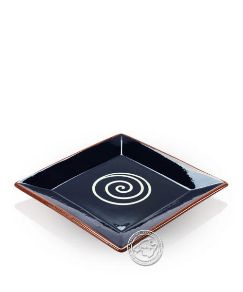 Teller volllasiert braun, innen blau mit beigem Spiralmuster, eckig 20 cm