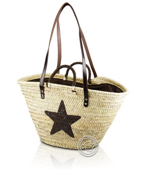 Korbtragetasche Palma-Serie Stern gedruckt, braun, Ledertragegurten und brauner Stoffabdeckung