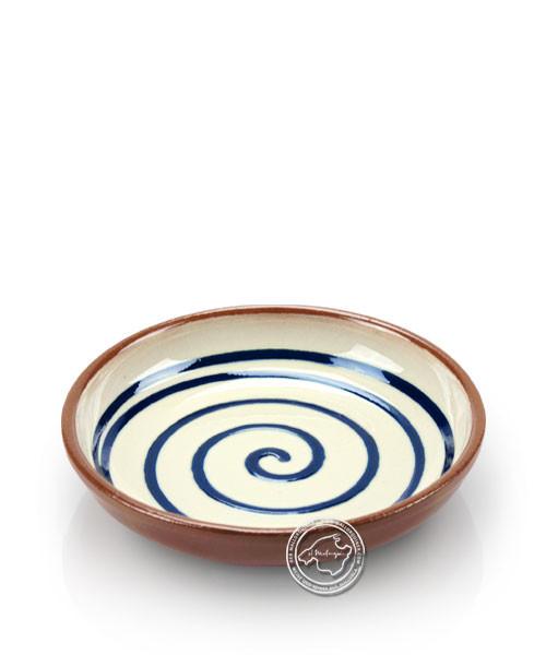 Teller volllasiert braun, innen weiß mit blauem Spiralmuster, rund 12,5 cm