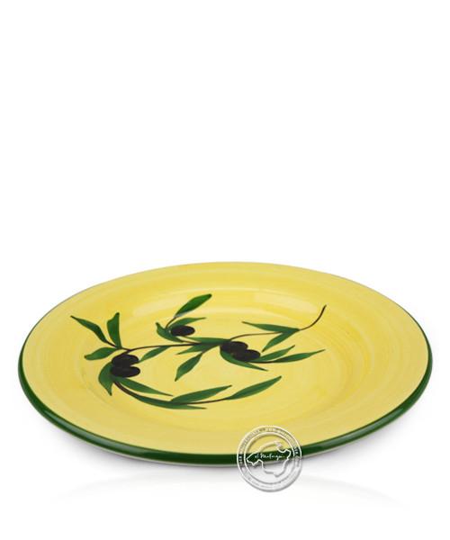 Teller voll lasiert gelb mit Olivenzweig-Dekor 22,5 cm