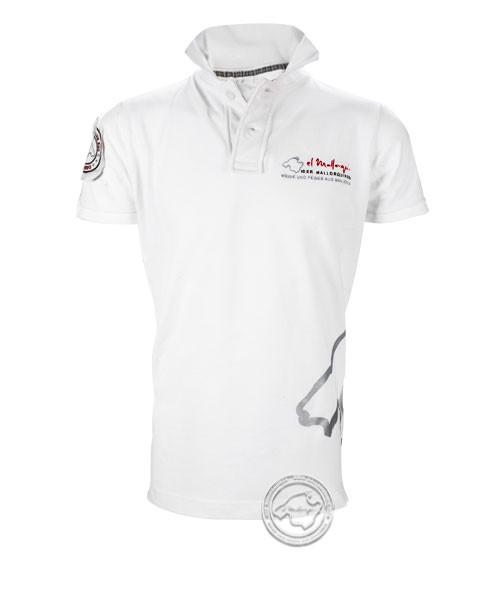 Der Mallorquiner Polo-Shirt weiß Herren Logo Patch