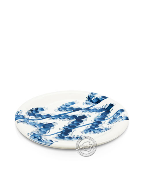 Plato, rund, weiß mit Lenguas-Muster blau, volllasiert 20,5 cm, je Stück