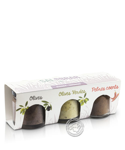 Salobrar Tapenada Olives, Olives Verdes, Pebres Coents 3er-Pack