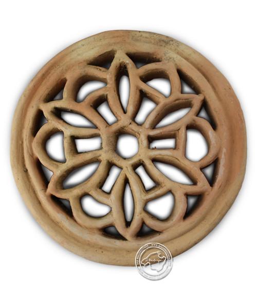 Tonrosette, natur, rund mit Blumenmotiv 21 cm