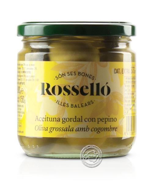 Rosello Gordal con pepino, Gordal-Oliven, gefüllt mit Gürkchen in Essiglake, 300/220 g