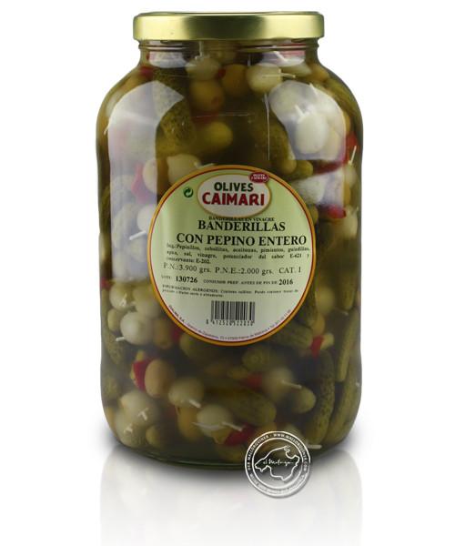 Banderillas en vinagre - Gemüsespießchen mit Oliven, 1,8-kg-Glas