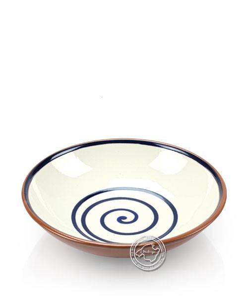 Suppenteller volllasiert braun, innen beige mit blauem Spiralmuster, rund 19 cm