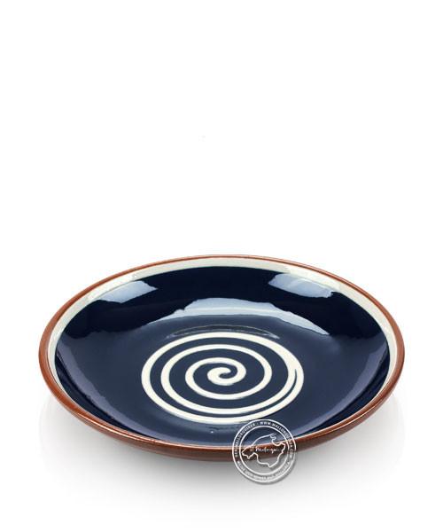 Teller volllasiert braun, innen blau mit beigem Spiralmuster, rund 21 cm
