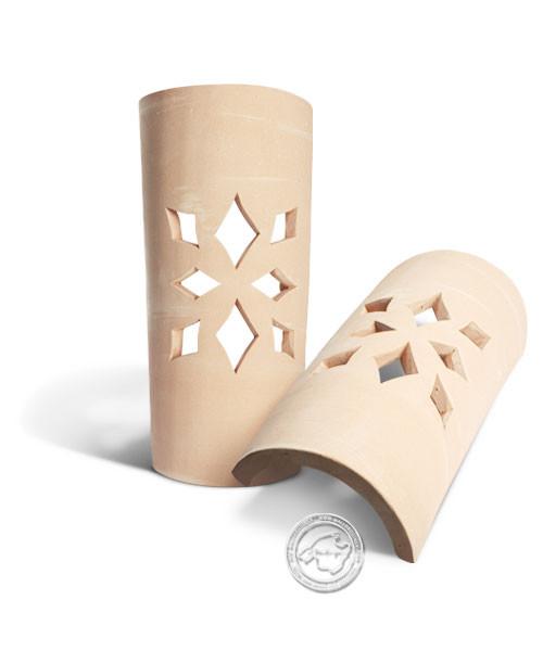 Keramik / Licht / Kunst Ca Na Mel, Tejs Flores - Dachschindelleuchte natur Blumenmuster, klein