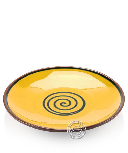 Teller volllasiert braun, innen gelb mit blauem Spiralmuster, rund 29 cm