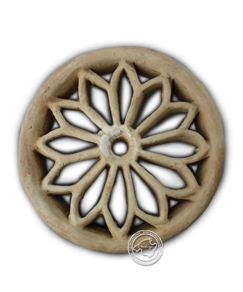 Tonrosette natur - rund mit Blumenmotiv, 17 cm