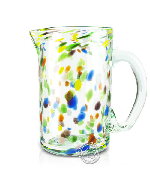 """Glashandwerk Lafiore """"Piche Liso amarillo-azul"""" - Glaskaraffe gelb-blau gepunktet, je Stück"""