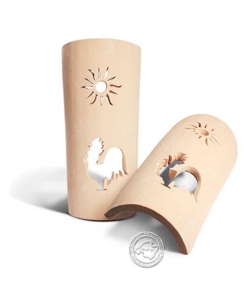 Keramik / Licht / Kunst Campos, Tejs Gallo + Sol - Dachschindelleuchte natur Hahn + Sonne, klein