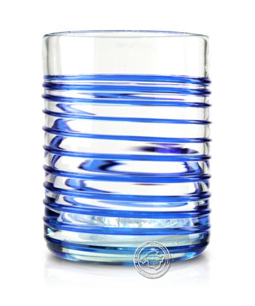 """Glashandwerk Lafiore """"Vaso Hilado azul grande"""" - Glas mit aufgearbeitetem Spiralmuster blau, je Stüc"""