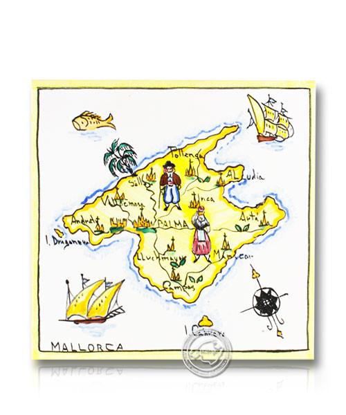 Fliesen aus Mallorca Mappa Mallorca - Insel Mallorca mit Städten 15 cm x 15 cm