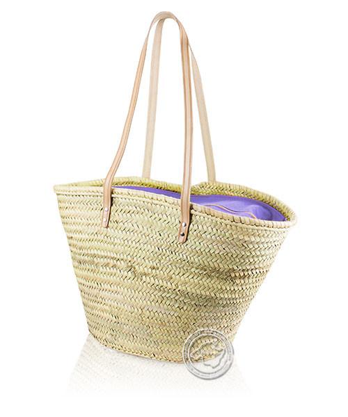Korbtragetasche Palma-Serie mit Ledertragegurten und lila Stoffabdeckung mit Reißverschluss