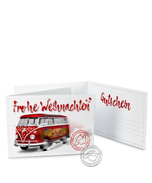 """Faltgutschein """"Frohe Weihnachten - Bus"""""""