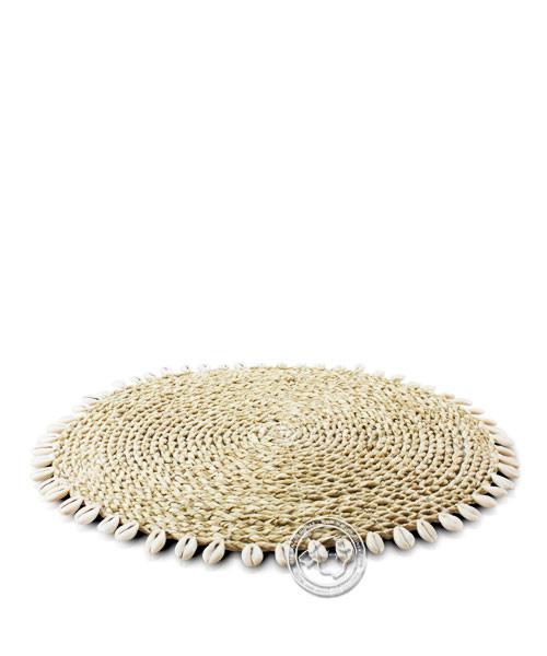 Palmwedeltelleruntersetzer mit Muscheln 38 cm