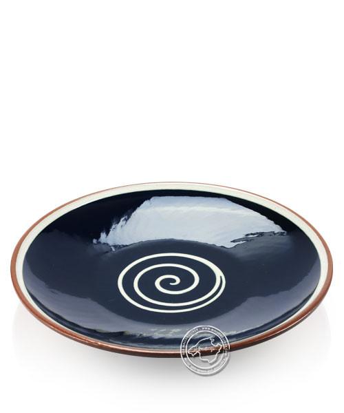 Teller, rund, Spiralmuster blau/beige, volllasiert 29 cm, je Stück