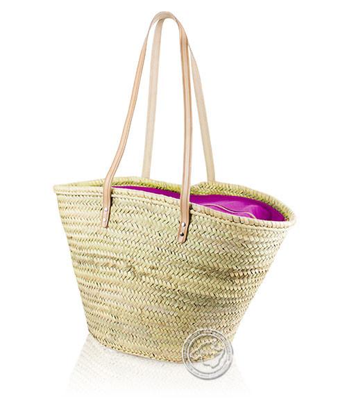 Korbtragetasche Palma-Serie mit Ledertragegurten und pinker Stoffabdeckung mit Reißverschluss