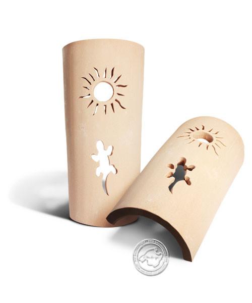 Keramik / Licht / Kunst Campos, Tejs Dragon + Sol - Dachschindelleuchte natur Gecko + Sonne, klein