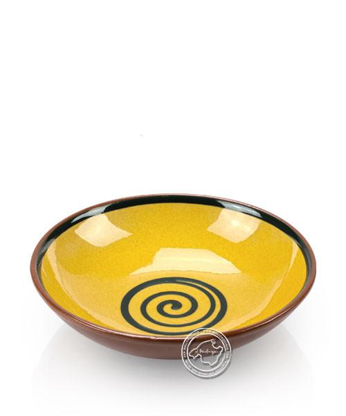 Suppenteller volllasiert braun, innen gelb mit blauem Spiralmuster, rund 19 cm