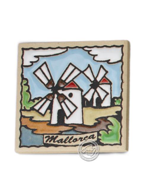 Fliesen aus Mallorca Reliefmagnetfliese mit 2 Windmühlenmotiv 5,5 cm x 5,5 cm