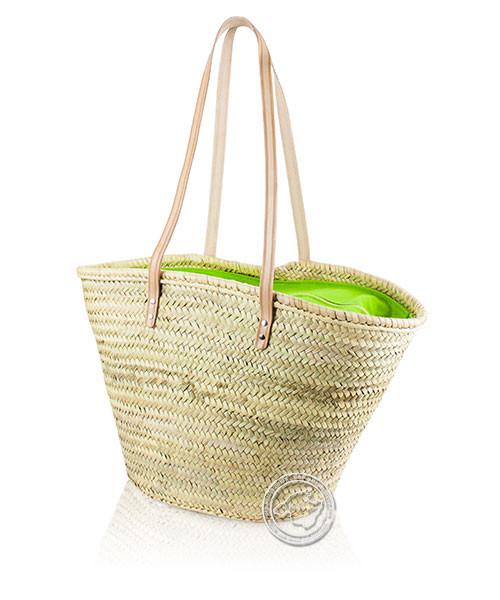 Korbtragetasche Palma-Serie mit Ledertragegurten und grüner Stoffabdeckung mit Reißverschluss
