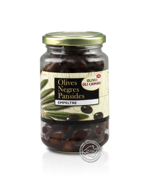 Aceitunas negra pansida - Schwarze Oliven, 220-g-Glas