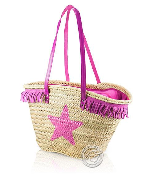 Korbtragetasche Palma-Serie Stern gedruckt, rosa, mit Ledertragegurten+Fransen und rosa Stoffabdecku
