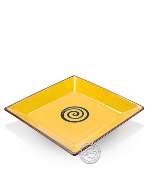 Teller volllasiert braun, innen gelb mit blauem Spiralmuster, eckig 25 cm