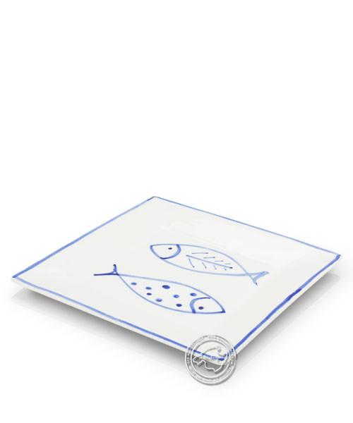 Plato, eckig, weiß mit Fischen blau, volllasiert 20 cm, je Stück