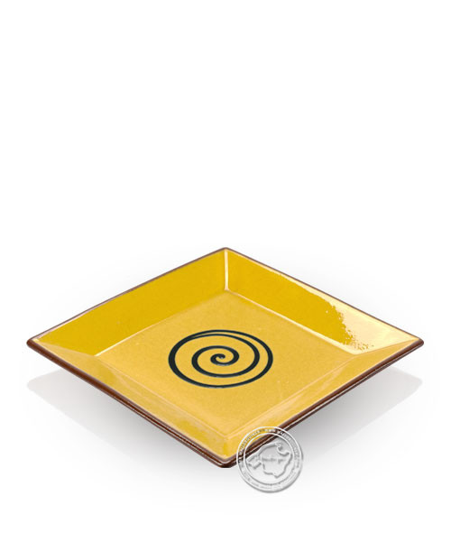 Teller volllasiert braun, innen gelb mit blauem Spiralmuster, eckig 20 cm